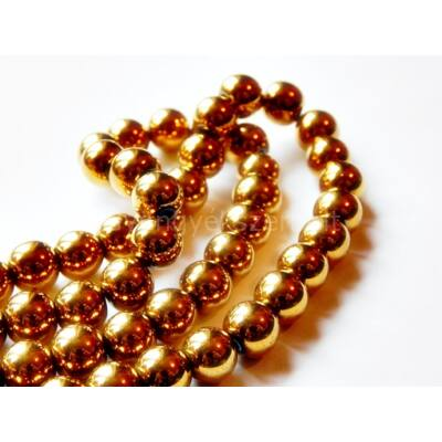 Arany hematit ásványgyöngy 8 mm