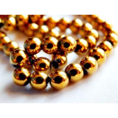 Arany hematit ásványgyöngy 6 mm