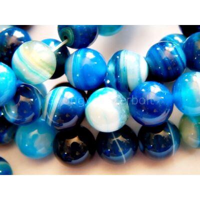 Kék csíkos achát ásványgyöngy 10 mm