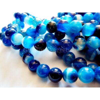 Kék csíkos achát ásványgyöngy 6 mm