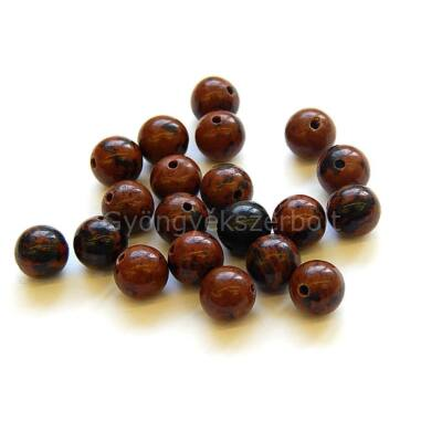 Mahagóni obszidián ásványgyöngy 6 mm