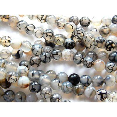 Sárkányér achát ásványgyöngy szürke 8 mm
