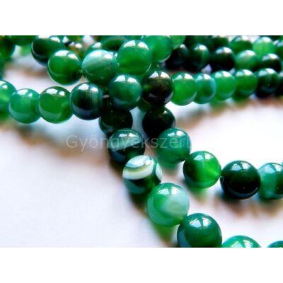 Zöld csíkos achát ásványgyöngy 6 mm