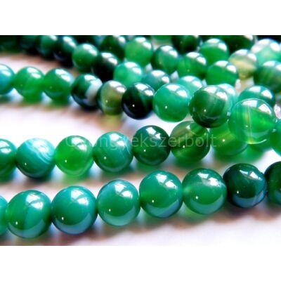 Zöld csíkos achát ásványgyöngy 8 mm