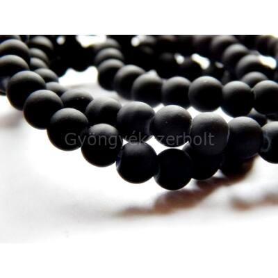 Fekete gumírozott üveggyöngy 8 mm