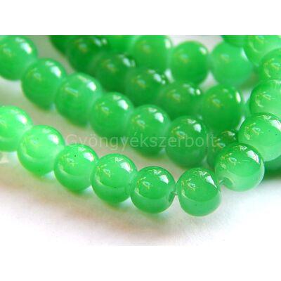 Zöld zselé hatású üveggyöngy, 6 mm