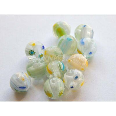 Millefiori üveggyöngy 10 mm halványkék