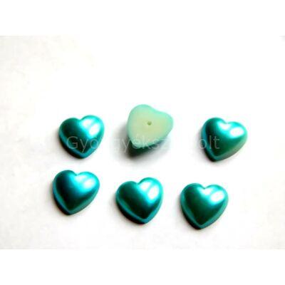 Türkiz akril ragasztható félig fúrt szív