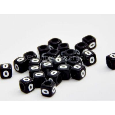 Fekete akril 0 kocka gyöngy 7x7