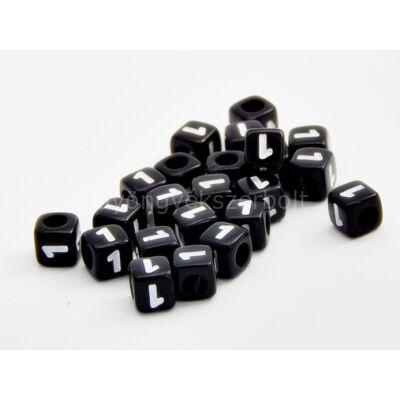 Fekete akril 1 kocka gyöngy 7x7