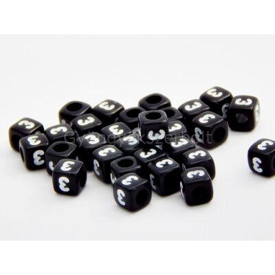 Fekete akril 3 kocka gyöngy 7x7
