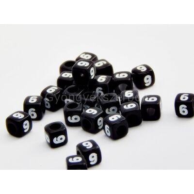 Fekete akril 6 kocka gyöngy 7x7