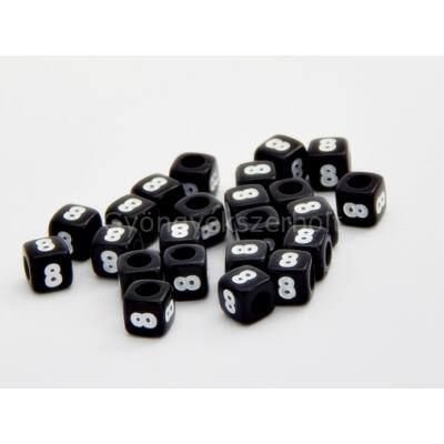 Fekete akril 8 kocka gyöngy 7x7