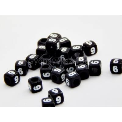 Fekete akril 9 kocka gyöngy 7x7