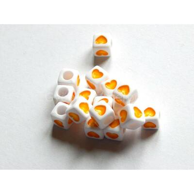 Akril szív kocka gyöngy citrom 7x7