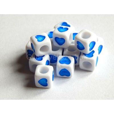 Akril szív kocka gyöngy kék 7x7