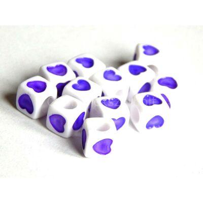 Akril szív kocka gyöngy lila 7x7