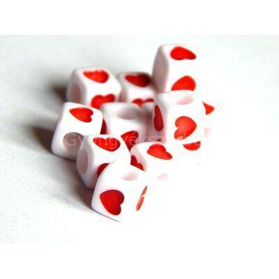 Akril szív kocka gyöngy piros 7x7