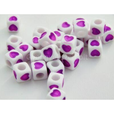 Akril szív kocka gyöngy viola 7x7