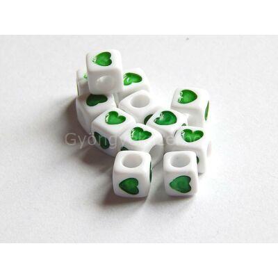 Akril szív kocka gyöngy zöld 7x7