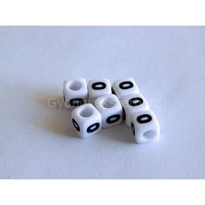 Fehér akril 0 kocka gyöngy 7x7