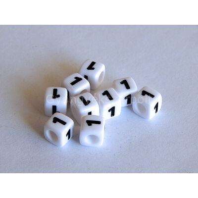 Fehér akril 1 kocka gyöngy 7x7