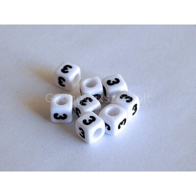 Fehér akril 3 kocka gyöngy 7x7