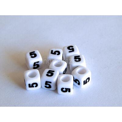 Akril 5 kocka gyöngy fekete 7x7