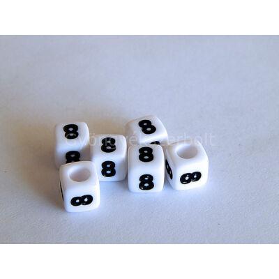 Fehér akril 8 kocka gyöngy 7x7
