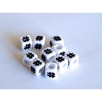 Fehér akril # kocka gyöngy 7x7