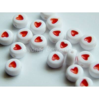 Piros akril szív kör gyöngy piros 7 mm