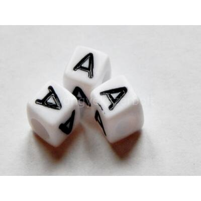 Kocka akril A betű gyöngy