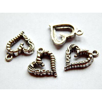 Antik ezüst fonott szív charm 16x17mm
