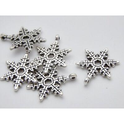 Antik ezüst hópehely medál 24 mm