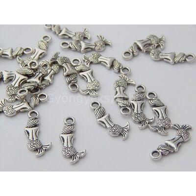 Antik ezüst sellő charm