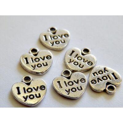 "Antik ezüst ""I love you"" charm"