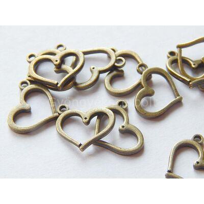 Antik bronz szív charm