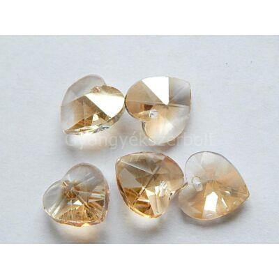 Bézs csiszolt üveg szív medál 14 mm
