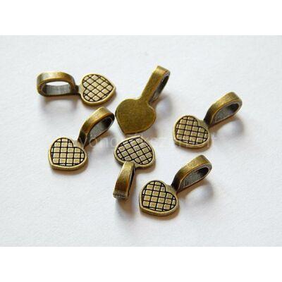 Antik bronz szív ragasztható medálalap