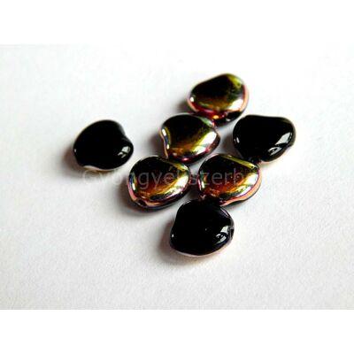 Szivárvány-fekete üveg szív 7 mm