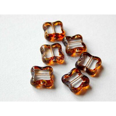 Clear-caramel table cut négyzet üveggyöngy 9 mm