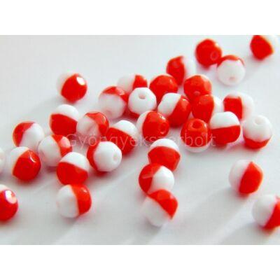 Piros-fehér CSEH csiszolt kerek üveggyöngy 4 mm