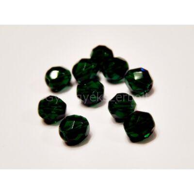 Smaragd CSEH csiszolt kerek üveggyöngy 8 mm