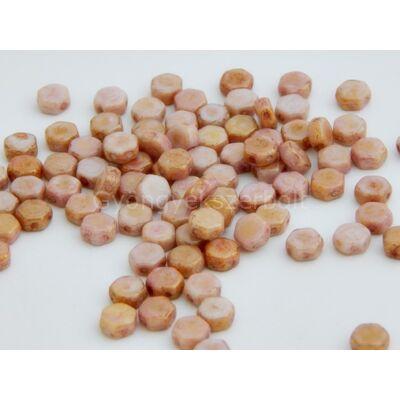 Golded rose cseh HEXAGON üvegyöngy 6,5x6,5 mm