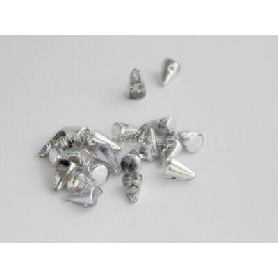Silver cseh tüske gyöngy 5x8 mm