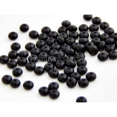 Fekete CSEH fánk üveggyöngy 4x7 mm