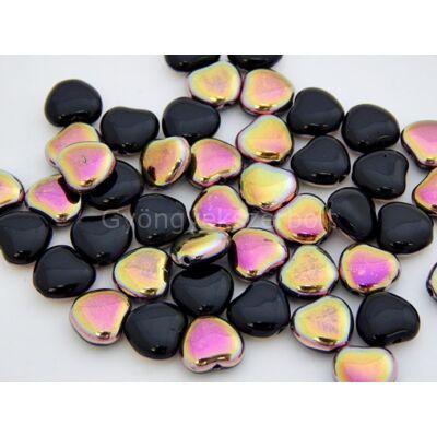Szivárvány-fekete szív üveggyöngy 7 mm