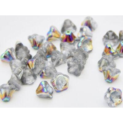 Silver cseh harangvirág gyöngy 6x8 mm