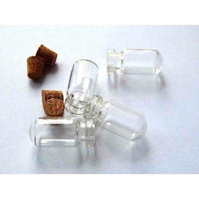 Gömbölyű talpú üvegcse medál 27x13 mm