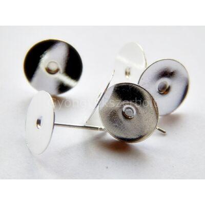 20 db ezüst beszúrós fülbevaló alap 10 mm